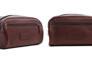 Barbour Chocolate Leather Washbag